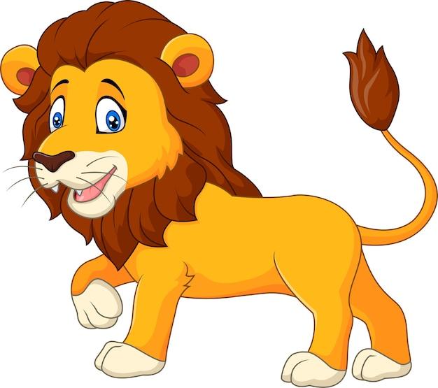 Het leuke leeuw lopen geïsoleerd op witte achtergrond