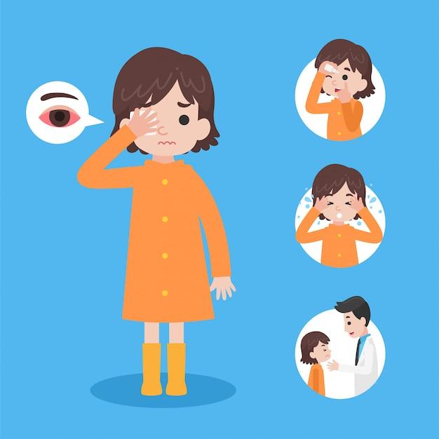 Het leuke meisje dat oranje regenjas draagt heeft een conjunctivitis rode ogen