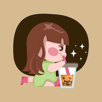 Het leuke meisje drinkt bellenmelkthee. taiwanese beroemde en populaire drank met zwarte parels