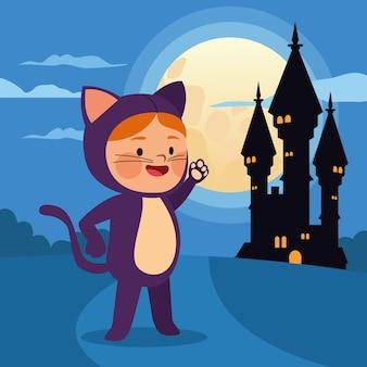 Het leuke meisje kleedde zich als ontwerp van de kat en van de kasteel vectorillustratie