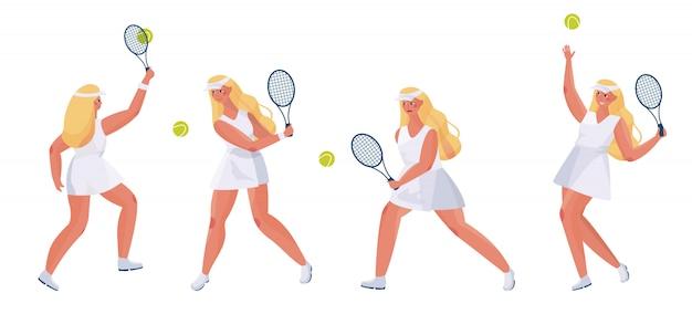 Het leuke meisje van sportenmensen dat op wit wordt geplaatst. de jonge speler van het vrouwentennis met een racket in haar dient verschillend in stelt.