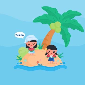 Het leuke meisjeskarakter eet plakje watermeloen bij het strand in de stijlvector van het de vlakke ontwerpbeeldverhaal van de zomer