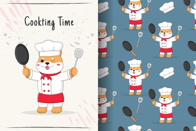 Het leuke naadloze patroon en de kaart van chef-kokshiba inu
