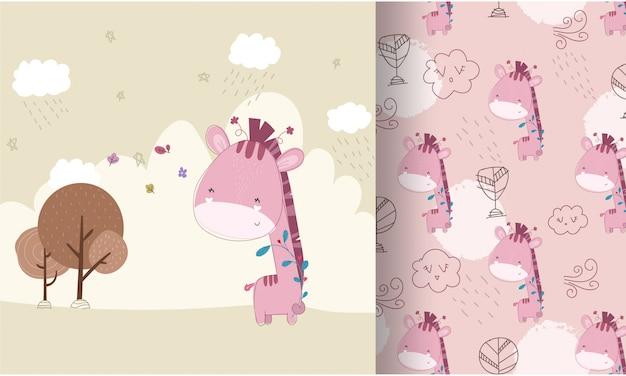 Het leuke naadloze patroon van de babygiraf