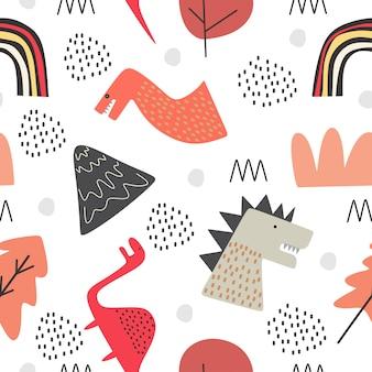 Het leuke naadloze patroon van dino voor baby en kinderdagverblijfstijl