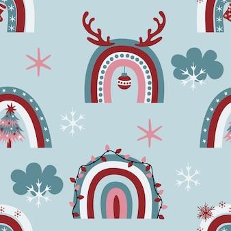 Het leuke naadloze patroon van kerstmisregenbogen