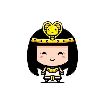 Het leuke ontwerp van het koninginkarakter van cleopatra