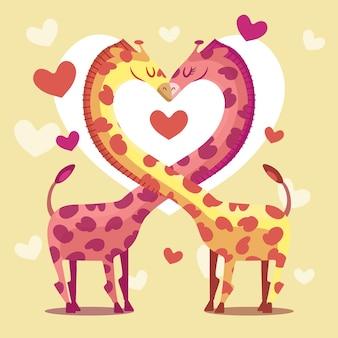 Het leuke paar van de daggiraffen van de valentijnskaart