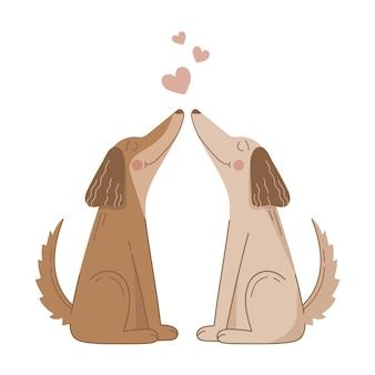 Het leuke paar van de daghonden van de valentijnskaart