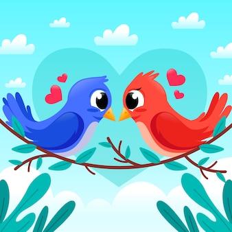 Het leuke paar van de dagvogels van de valentijnskaart