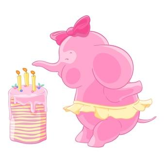 Het leuke roze olifantsmeisje met boog en de rok blaast uit kaarsen op een verjaardagscake. doe een wens.