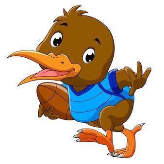 Het leuke speelvoetbal van de kiwivogel van illustratie