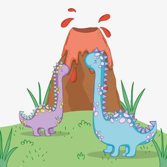Het leuke wild van het brontosauruspaar met vulkaan