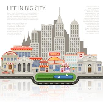 Het leven in het ontwerp van een grote stad met commerciële huizen en wolkenkrabbers mensen gebouwen silhouetten