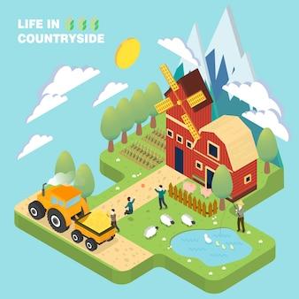 Het leven in plattelandsconcept in 3d isometrisch vlak ontwerp