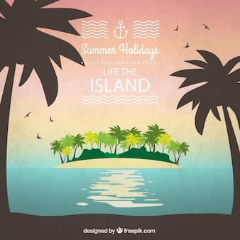 Het leven op het eiland achtergrond