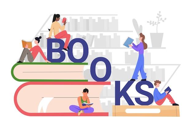 Het lezen van boeken concept. studentenmensen die op stapel boeken zitten.