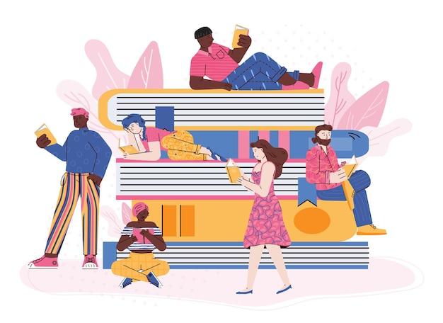 Het lezen van boeken en liefde voor literatuurconcept met kleine mensenkarakters, vlak geïsoleerd