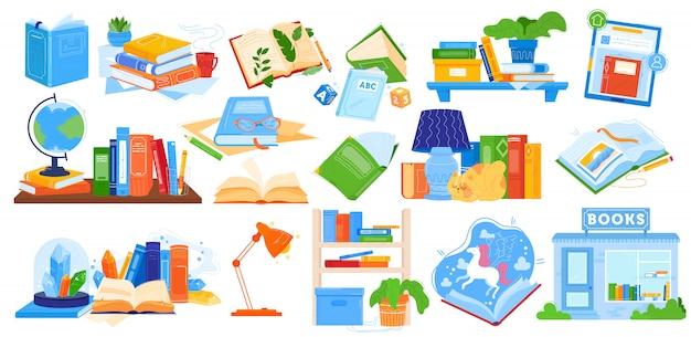 Het lezen van boeken illustratie, cartoon collectie met geopende of gesloten notebook, leerboek encyclopedie voor thuisonderwijs op school