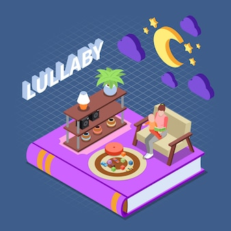Het lezen van concept met slaapliedje lezen voor kinderen symbolen isometrisch geïsoleerd