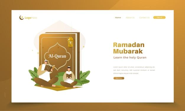 Het lezen van de heilige koran voor het concept van ramadan-groeten