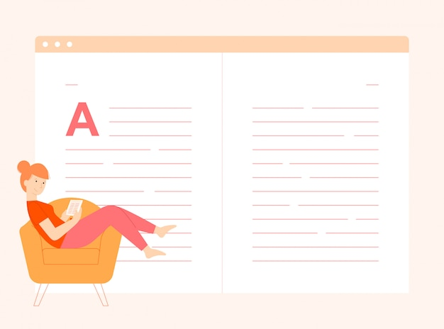 Het lezen van een illustratie van het e-boekconcept