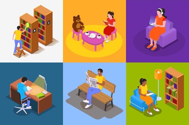 Het lezen van isometrisch ontwerpconcept met vierkante illustratie