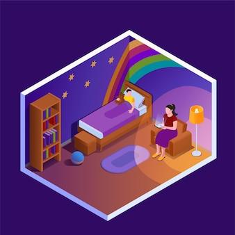 Het lezen van isometrische compositie met uitzicht op de kinderslaapkamer met moeder die een boek voorleest aan haar kindillustratie