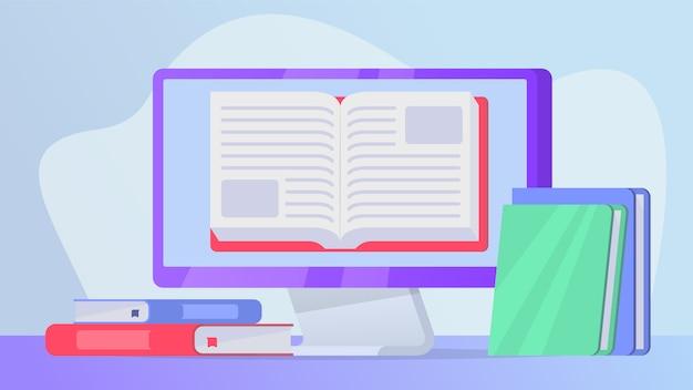 Het lezen van online boekenconcept met open boek op computerlaptop het scherm