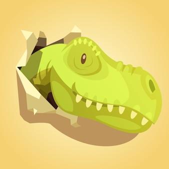 Het lichtgroene hoofd van dinosaurussen knalt uit omslagdocument gat