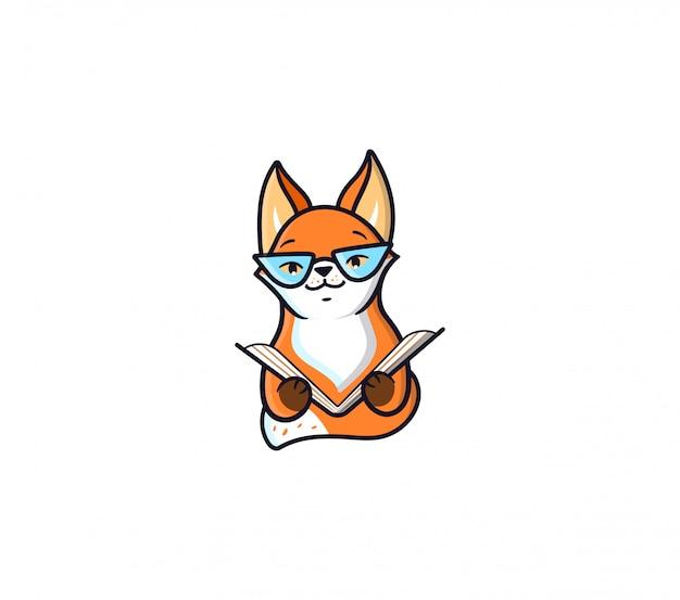Het logo fox leest boek. grappig stripfiguur voor onderwijs