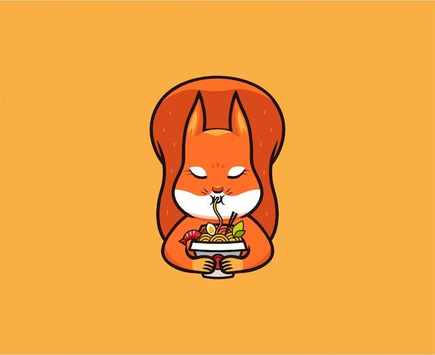 Het logo grappige eekhoorn eet noedels. voedsel logo, schattige dieren, stripfiguur