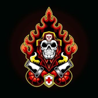 Het logo-illustratie van de brandbestrijder in brand