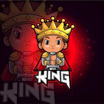Het logo-ontwerp van de king esport-mascotte