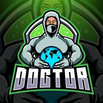 Het logo van de arts esport-mascotte
