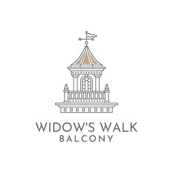 Het logo van de het balkonillustratie van de weduwe het lopen