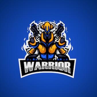 Het logo van de krijger esport mascotte
