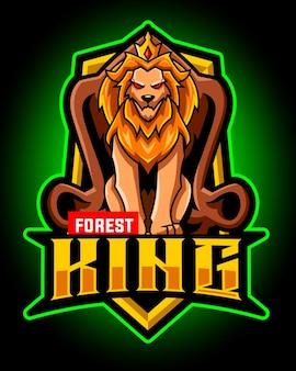 Het logo van de leeuwenkoning mascotte esport
