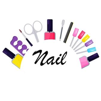 Het logo van de nagelsalon. digitale achtergrond. het concept van schoonheid.