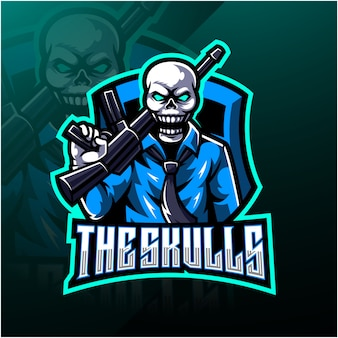 Het logo van de schedels esport-mascotte