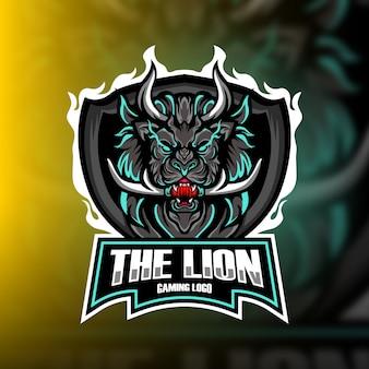 Het logo van lion gaming mascot