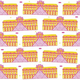 Het louvre museum naadloze patroon in platte ontwerpstijl