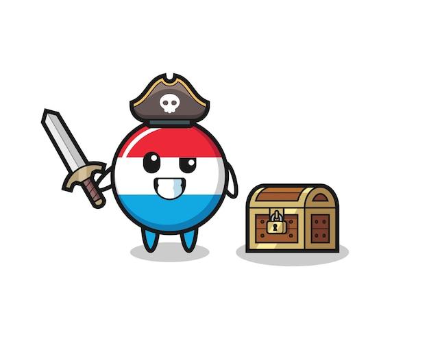 Het luxemburgse vlagbadge-piraatkarakter met zwaard naast een schatkist, schattig stijlontwerp voor t-shirt, sticker, logo-element