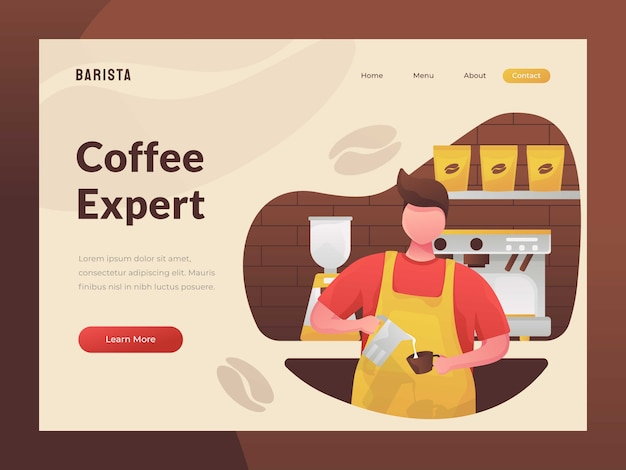 Het maken van een kopje koffie website mobiele site concept