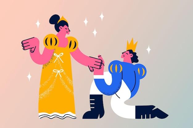 Het maken van voorstel en engagement concept. jonge man prins in kroon zittend op de knie voorstel doen aan prinses in gele jurk vectorillustratie