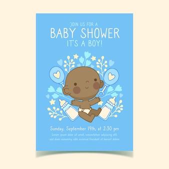 Het malplaatje van de baby showeruitnodiging met geïllustreerde babyjongen