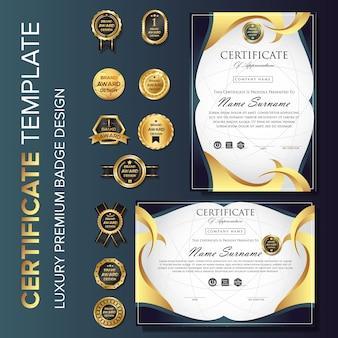 Het malplaatjeachtergrond van het certificaat moderne ontwerp met kenteken