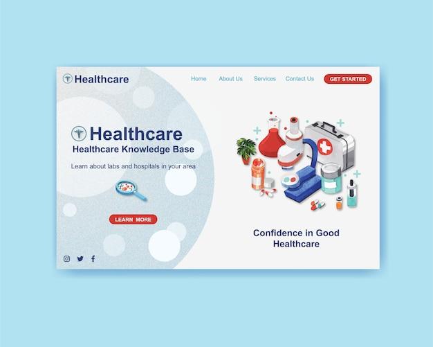 Het malplaatjeontwerp van de gezondheidszorgwebsite met medische apparatuur