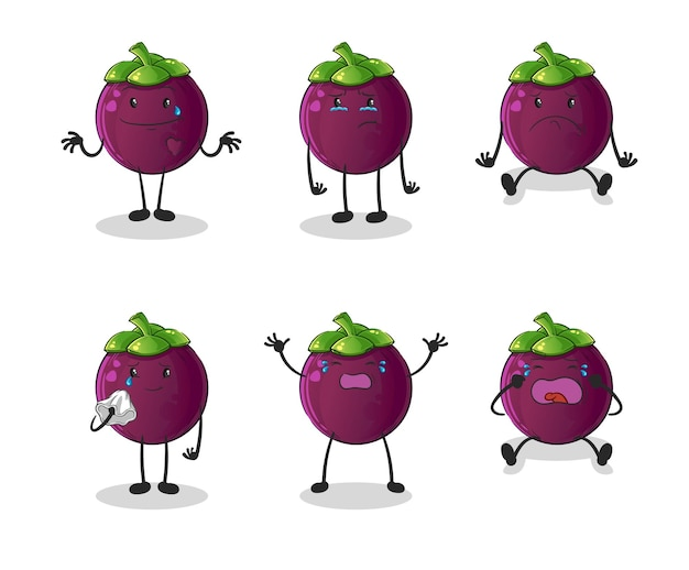 Het mangosteen trieste groepskarakter. cartoon mascotte