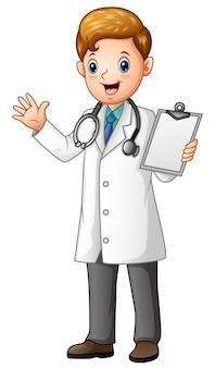 Het mannelijke klembord van de artsenholding
